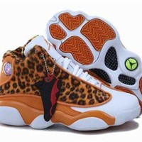 Fashion Online New Nike Air Jordan 13 Kids Shoes Leopard Orange White
