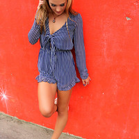 No Competition Navy Pinstripe Bow Front Romper