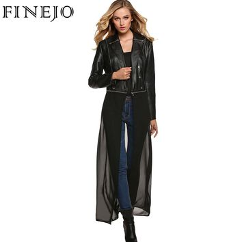 FINEJO Autumn Rock Cool Genuine Leather Jacket Coat Women Detachable Chiffon Hem Slim Long Overcoat Full Sleeve Plus Size Jacket