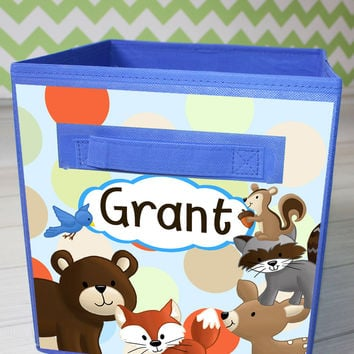 Blue Forest Animal Woodland Friends Fabric Bin Kid's Bedroom Baby Nursery Organizer for Toys or Clothing FB0075