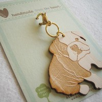 Boris the Bulldog Wooden Engraved Keychain Zipper Pull by Cuore