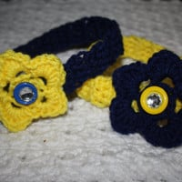 SALE BOGO Michigan University Navy Blue and Yellow Sized Newborn with Bling- Adult headband- Ready to ship, Photo Prop Pick one, or set