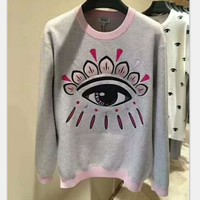 kenzo Fashion gray+ pink long sleeve Hedging sweater H-YF-MLBKS