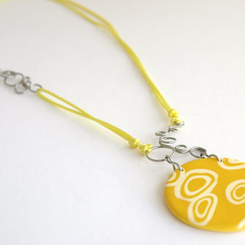 Adjustable Yellow Necklace, Bubbles Necklace, OOAK