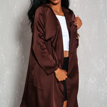Sexy Brown Faux Satin Open Front Long Sleeve Dressy Cardigan