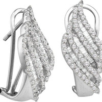 Diamond Fashion Earrings in 14k White Gold 1.35 ctw