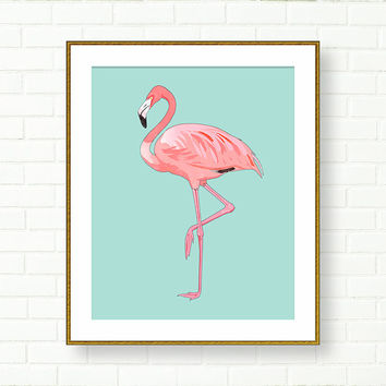 Flamingo Print, Girl Nursery, INSTANT DOWNLOAD, Printable Flamingo Art, Flamingo Poster, Pink Aqua, Tropical, Vanity Decor, Office, Kids Art