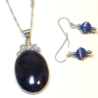 Blue Sterling Silver Necklace Set - LinorStore Jewelry & Kippah