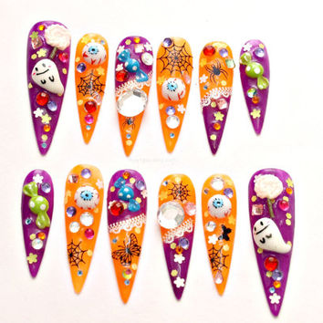 Stiletto nails, long nails, Halloween, spooky, glow in the dark, orange, purple, ghost, spider, candy,party nails, Japanese 3D nail art