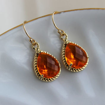 Burnt Orange Earrings Amber Gold Jewelry - Bridesmaid Earrings Burnt Orange Wedding Earrings Amber Bridesmaid Jewelry Orange Wedding Jewelry