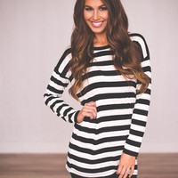 STRIPED TUNIC- BLACK/WHITE
