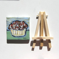 Acrylic Cupcake Painting Original Still life mini canvas with easel