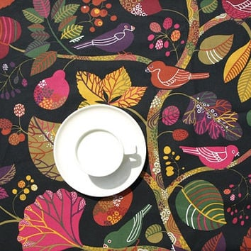 Tablecloth black bright colorful birds tree MOISTURE resistant , also table runner available, great GIFT