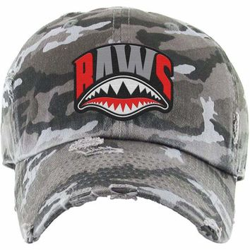 bbf32453e143a3 Angry Shark Mouth Baws Black Camo Dad Hat