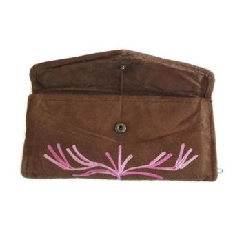 HANDMADE Women Envelope Leather Wallet With Card Holder Embroidered Purse