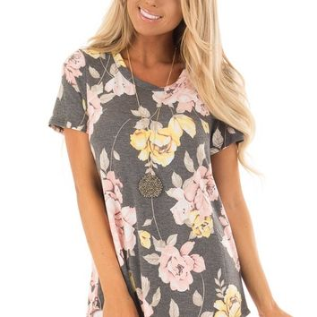 Charcoal Floral Print Short Sleeve Top