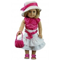 """Pink Shirt and White Skirt Set For 18"""" American Girl Doll Clothes"""