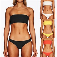 New Solid Color Strip Bikini Special Fabric Tube Top Swimsuit