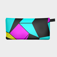 Turquoise Pink Black Geometric Pencil Bag