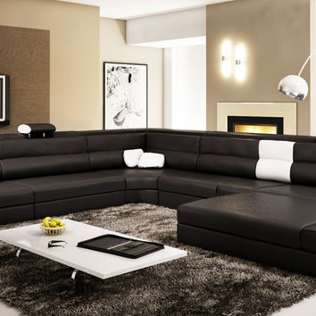 Divani Casa Polaris -  Black Contemporary Leather Sectional Sofa