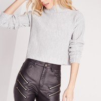 Missguided - Vertical Rib Jumper Grey