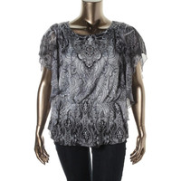 Style & Co. Womens Printed Flutter Sleeves Pullover Top
