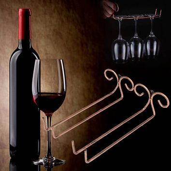New High Quality Bronze Stainless Steel Side Stand Wine Glass Hanger Rack Cup Glass Holder Shelf