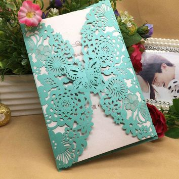 30Pcs/lot Romantic Wedding/Business/Party/Birthday Invitation Cards Wedding Party Invitation Card Envelope Butterfly Pattern 8Z