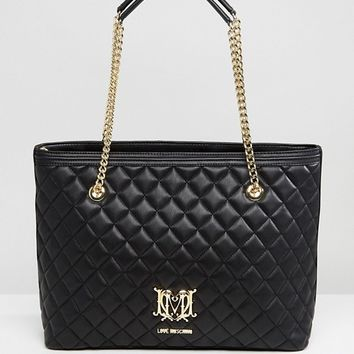 Love Moschino Quilted Shopper Bag With Chain at asos.com