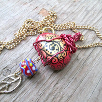 Bright Red Necklace - Whimsical Necklace - Red and Yellow Jewelry - Upcycled, Recycled, Repurposed - Painted Stone - Wire Wrapped Stone