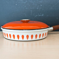Catherineholm Orange and White Lotus Enamelware Large Frying Pan, Norway, 10 1/2 inch Skillet
