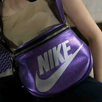 NIKE Fashion New fashion letter print women and men shoulder bag Purple