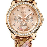 Juicy Couture 'Pedigree' Crystal Bezel Embossed Strap Watch, 38mm | Nordstrom
