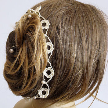 Wedding Headband crochet hairband  pearl handmade Wedding Bridal Accessories hair band Women Bridesmaids girls lariat gift ideas  bride