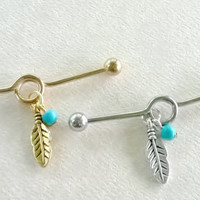 Industrial barbell piercing 14 gauge stainless steel feather charms