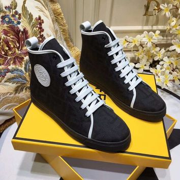 Fendi Women Fashion Lace-up high top Casual Sneaker sport Shoes black boots Best quality
