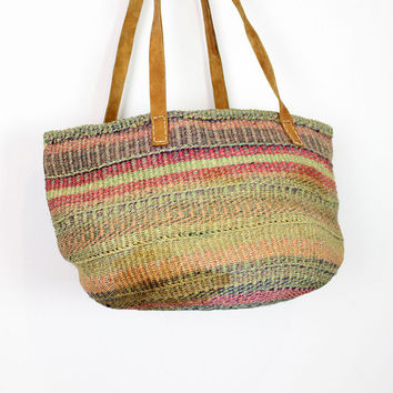 colorful straw bucket bag XL / sandy market tote AS IS