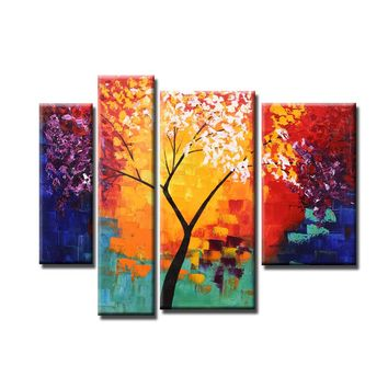 4pcs Unframed Hand Painted Modern Abstract Oil Painting Set Life Tree Canvas Paint