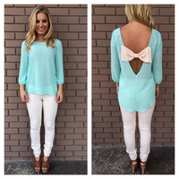 Mint Ally Bow Back Chiffon Blouse