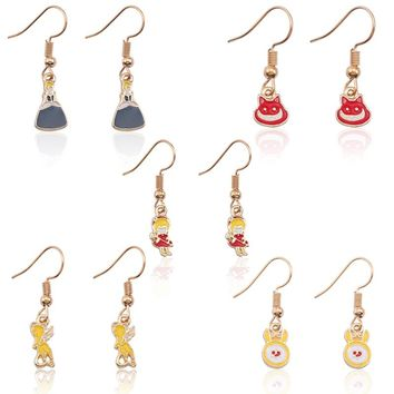 DIY Earrings For Women Cute Anime Earring For Girls Trendy Kawaii Magic Sakura Alice In Wonderland Cinderella Demon Jewelry