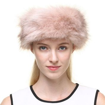 Vogueearth Women's Winter Faux Fur Earwarmer Earmuff Ski Hat Headband Light Pink