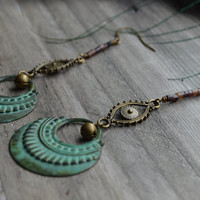 Tribal hoop earrings~ Half moon earrings with evil eye, heishi beads and brass bells, Patina earrings, Gypsy, Boho earrings, eye earrings