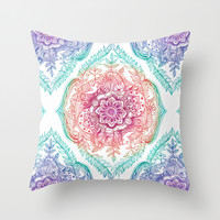 Indian Ink - Rainbow version Throw Pillow by Micklyn