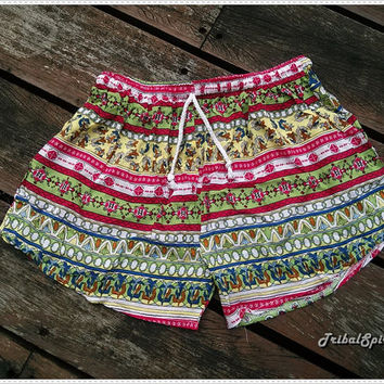 Boho Hobo Beach Hippie Hipster Shorts Colorful Printed Rayon Clothing Aztec Ethnic Bohemian Ikat Tank Handmade Colorful Unique Bikini Boxers