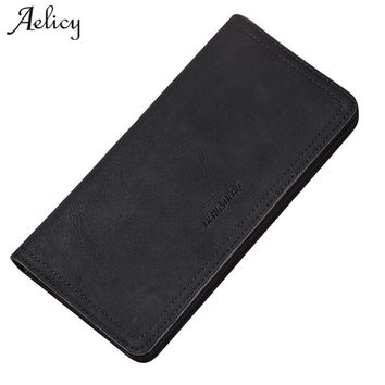 Aelicy Men Slim PU leather Wallet Long Male Business Clutch Leather Zipper Wallet With card holder 2018 New Brand HOT