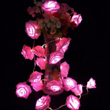 Garland 20pcs set Rose Flower Fairy luces decorativas string lights guirlande lumineuse LED Garden Party Decoration