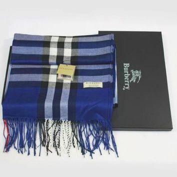 Burberry Plaid autumn and winter cashmere scarf silk scarves feathering Blue