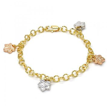 Gold Layered 03.63.1785.07 Charm Bracelet, Leaf Design, Diamond Cutting Finish, Tri Tone