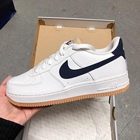 Nike Air Force 1 Low-Top Navy Blue Hook Men's and Women's Sneakers Shoes