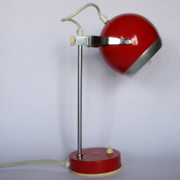 Mid century  adjustable red eyeball table lamp